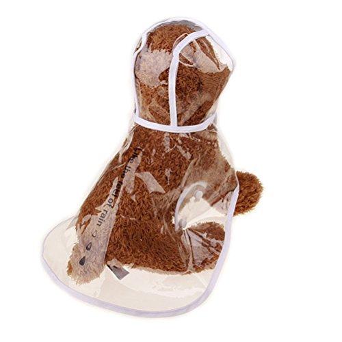Zhhmeiruian Mascotas Perros Impermeable con Capucha de nailon transparente Chubasqueros Impermeables para pequeña Medianas...