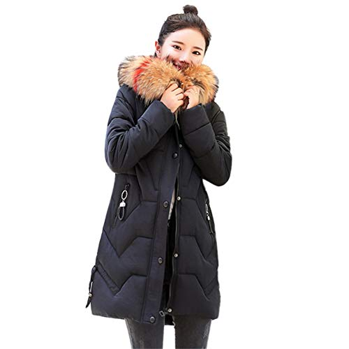 Di Casual In Donna Con Lhwy Caldo Imbottito Manica Cotone Spessa Inverno Lunga Nero Pelliccia Cappotto Collo Maniche Mantieni A Elegante Lunghe dIdFTqPw