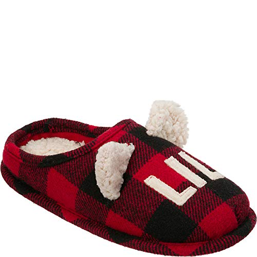 Dearfoams Baby Lil Bear Clog Slipper, Buffalo Plaid, 9-10 Toddler Regular US Toddler