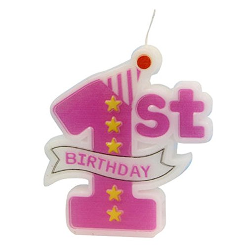 IzHotta 1st Birthday Candle Decotation Number 1 Happy Topper Cake Pink Girl Party Weddings Party Supplies Sparkling Chic (Delivery Cakes Same Day)
