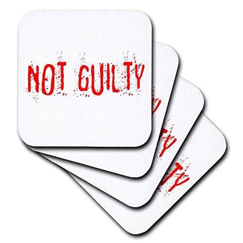 3dRose Alexis Design - Typography Funny - Red text Not Guilty on white surface. Halloween horror theme - set of 8 Coasters - Soft -