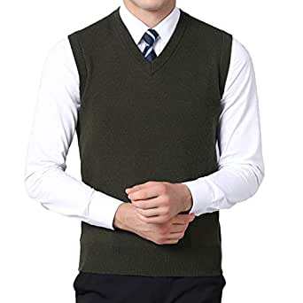 Homovater Classic Mens Casual V-Neck Sleeveless Jumper Vest Cardigans Knitwear Knitted Waistcoat Sweater Tank Tops Slim Fit Solid Lightweight (Small, Army Green)