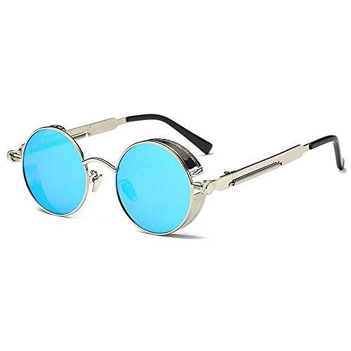 UV400 Ice personnelles de lunettes polarisées Argent Lunettes steampunk soleil rondes rétro Huateng Blue lunettes 7Hz5vx