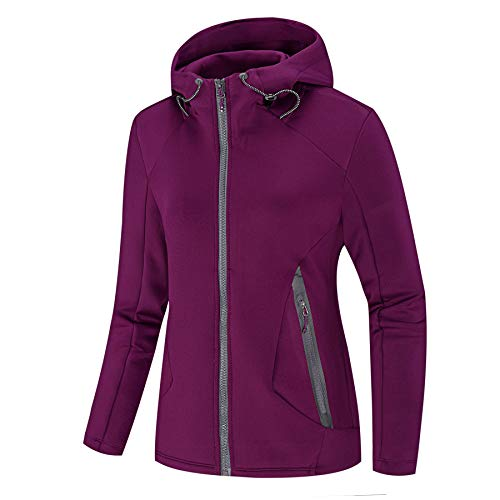 NIUDI Women's Athletic Jacket Double Zip-Up Hoodies Windbreaker Air Layer Structure Sweatshirt for Running Slim Fit (M, Purple) ()