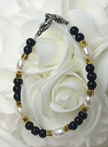 White Pearl Black Onyx Gold Medical ID Alert Replacement Bracelet! (MA091) ()