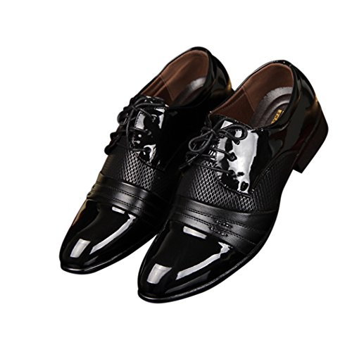Sun Lorence Men Business Classic Leather Shoes Formal Dress Oxford Shoes Black 46