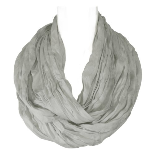 Wrapables Lightweight Silky Soft Infinity Loop Scarf, Silver Grey