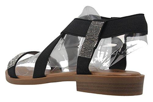 Fitters Footwear - Sandalias de vestir de Material Sintético para mujer Negro negro