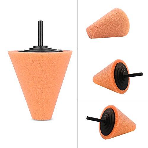 Lenmumu Drill Buffing Sponge Pads Kit 3 Pack, 1/4''/6mm Metal Polishing Tool Cone Foam Pad Polisher Buffer Sponge Ball for Automotive Car Wheels Hub Care by Lenmumu (Image #1)