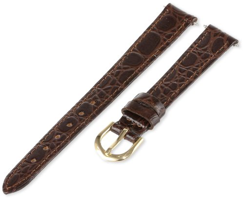 Timex Women's Q7B882 Padded Crocodile Grain 12mm Brown Replacement Band