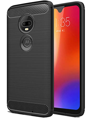 Moto G7 Case, SKTGSLAMY Ultra [Slim Thin] Carbon Fiber Scratch Resistant Shock Absorption Soft TPU and Anti-Scratch and Non-Slip Case Cover for Motorola Moto G7/G7 Plus Phone (Black)