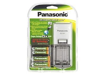 Panasonic bq-321 batería Recargable y Cargador Kit con 4 AA Ni-MH ...