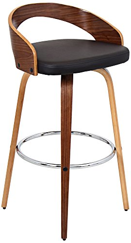 Bar Walnut Modern Stool - Lumisource Home Grotto Bar Stool Walnut/Brown