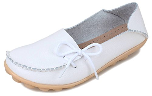 PhiFA Women's Leather Casual Loafers Flat Shoes Slip-Ons White