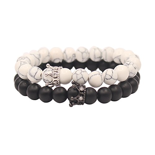 UEUC Distance Couple Bracelets with Crown King&Queen Black&White Howlite 8mm Beads Bracelet