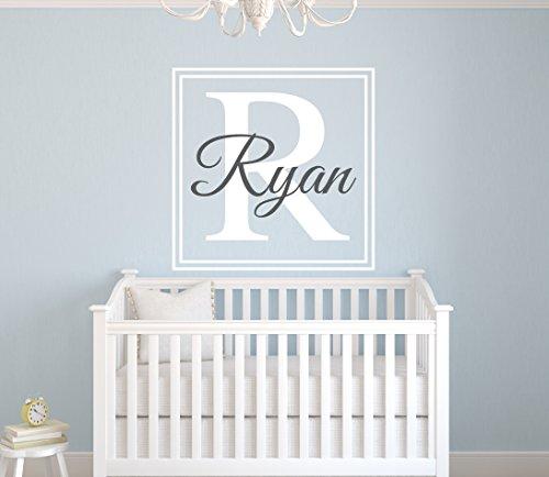 Custom Square Boy Name Wall Decal - Boys Kids Room Decor - Nursery Wall Decals - Monogram Wall Decal Stickers ()