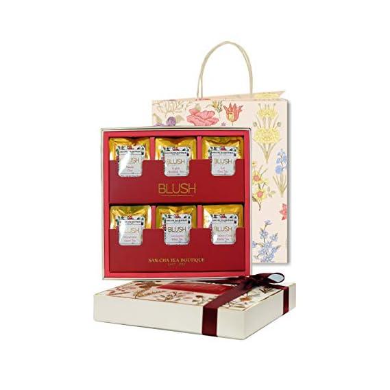 Sancha Tea Boutique Blush Tea Collection, Tea Gift Box, 30 Pyramid Tea Bags, Individually Wrapped, Plastic Free & 100% Biodegradable, Masala Chai, English Breakfast, Earl Grey, Peppermint & Cinnamon Clove Flavours, Festive Gift Box