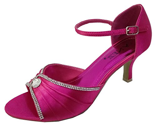 Chic Feet Womens Rhinestone Satin Prom Party Wedding Bridal Sandals Ladies Low Heel Bridesmaid Shoes Hot Pink / Fuschia aA0IQ