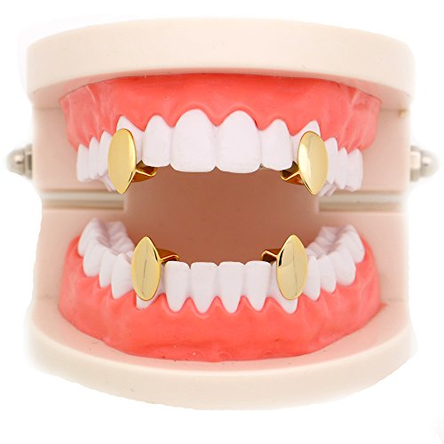 - LuReen 4 PC 14k Gold Plated Vampire Dracula Single Metal Fangs Hip Hop Teeth Grillz Set (Gold)