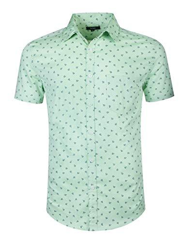 Spring Pattern Oxford - NUTEXROL Men's Regular-Fit Short-Sleeve Oxford Shirt Button Down Collar Dress Shirts