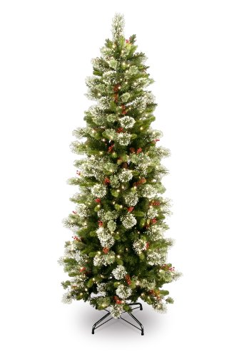 (National Tree 7.5 Foot Wintry Pine Slim Tree with 400 Clear Lights, Hinged (WP1-310-75))