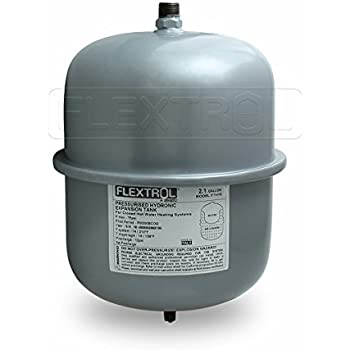 Flextrol FTH30 Hydronic Expansion Tank 2.1 Gallons for Closed Hot Water Heating Systems, 1/2 Inch MIP Connection, Gray
