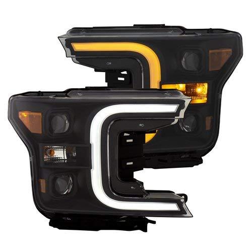 2019 Projector Headlights - Anzo USA 111398 Projector Headlight Set w/Plank Style Switchback Black w/Amber Pair Projector Headlight Set