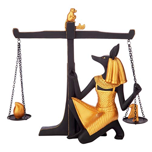 Design Toscano Egyptian God Anubis Weighing of The Heart Statue, Black/Gold