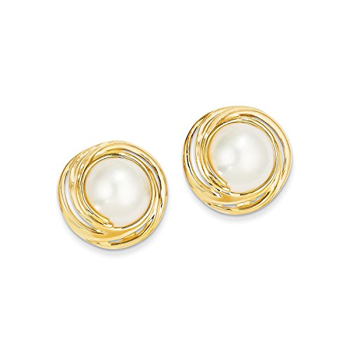 Roy Rose Jewelry 14K Yellow Gold Mabe Cultured Pearl Earrings 14k Yellow Gold Mabe Pearl
