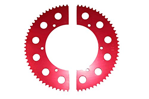 Go Kart Racing Sprocket - Aluminum 2-piece - For Use with #35 Chain (66, Red) (Go Kart Use)