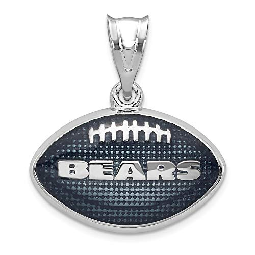 (NFL Sterling Silver LogoArt Chicago Bears Enameled Football Pendant)
