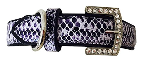 Ruff Ruff & Meow Pet Dog Snake Skin Printed PU Leather Rhinestone Collars, Small/Medium