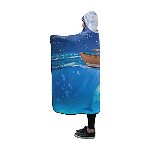 Artsadd Fashion Sleep Dolphin Funny Giraffe Soft Fleece Hooded Blanket 60''x50''