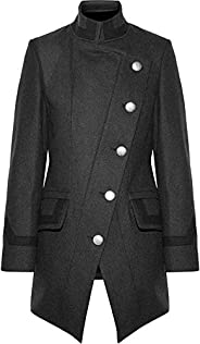 VearFit Men's Trangiular Designer Trench Coat Wool Blend Black, Pea