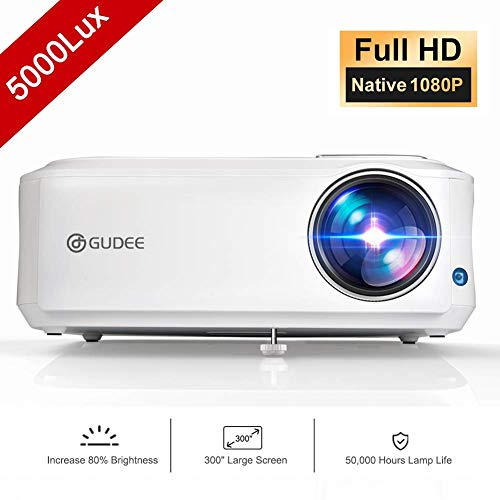(Native 1080P Projector, GuDee Full HD Video Projector for Business PowerPoint Presentation, 5000 Lux Movie Projectors for Home Theater, Compatible with Laptop iPhone Android HDMI USB Fire)