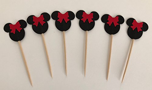 Minnie Mouse Red Bow Double Sided Cupcake Toppers Cake Centerpieces Party Picks 1