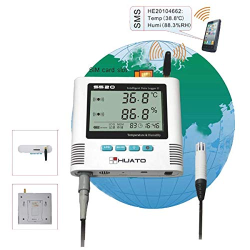 (MeterTo S500-EX-GSM USB Large LCD GSM Temperature Humidity Data Logger -40~+85℃ 0~100% RH Recording 6,5000 External 3m Sensor 2 Channels Built-in Sound/led Alarm)