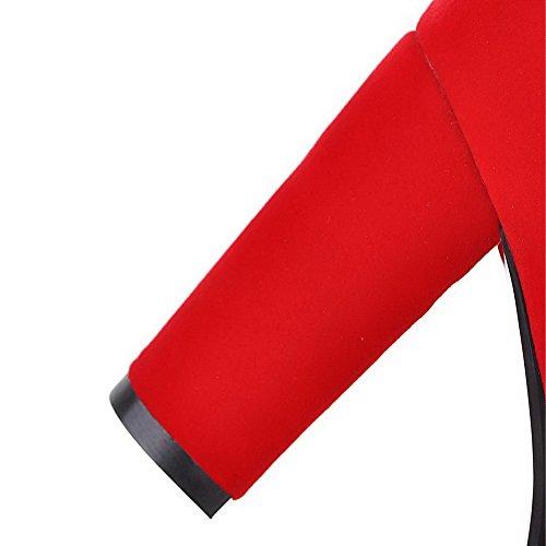AllhqFashion Mujeres Cremallera Tacón ancho Caña Baja Botas con Diamante de Imitación Rojo