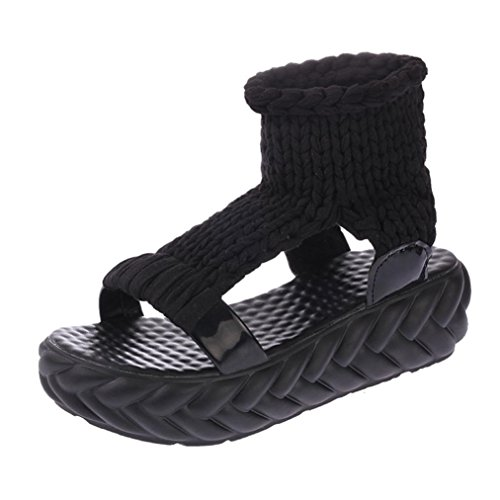 Jamicy Women Summer Fashion Platform Wedge Casual Sandals Shoes Black