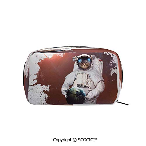 Rectangle Portable makeup organizer Cosmetic Bags Cute Kitty Cosmonaut Earth World in front of Color Splash Surreal Design Printed Storage Bags for Women Girls