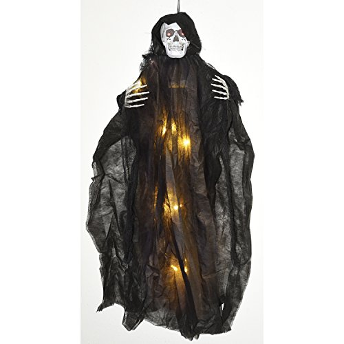 - One Holiday Way Creepy Light Up Black Skeleton Reaper Hanging Halloween Decoration Party Prop