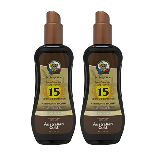 Australian Gold SPF 15 Sunscreen Spray Gel with Instant Bronzer, 8 Ounce (2 Pack) (Spray Soothing Gel)