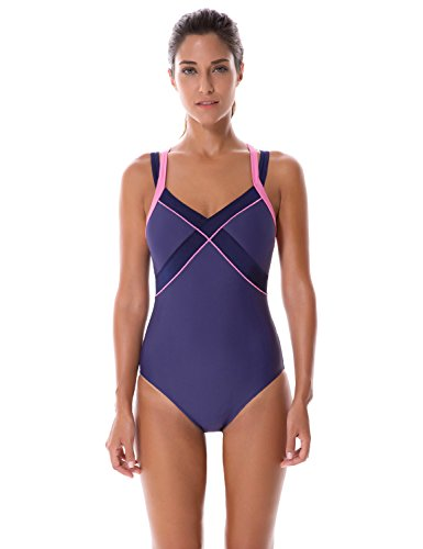 SYROKAN Women's One Piece Dual Crossback Athletic Training Swimsuit Navy 38 - Swimsuits For Training