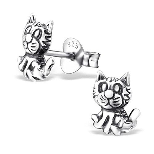 So Chic Jewels - Children's 925 Sterling Silver Kitty Ear Studs
