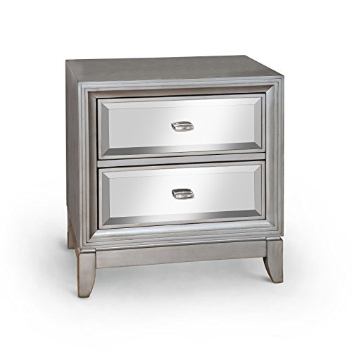 (Furniture of America Sterling Contemporary Nightstand, Silver)