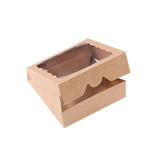 ONE MORE 9inch Natural Kraft Bakery Pie Boxes With PVC Windows 12pcs Of Pack