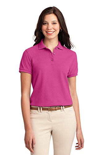Port Authority Women's Silk Touch Polo L Tropical Pink (Blend Pique Knit Sport Shirt)