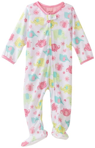 Little Me Baby Girls' Elephant Zip Footie, White Print, 24 Months