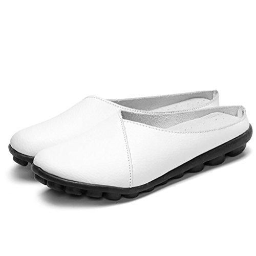SHANGXIAN Tacón Bajo Zapatos Mujeres Piel Genuina Zapatilla Color Puro Lenguado Antideslizante Fondo Suave Zapatos,E,US9.5(10)/EU41/UK7.5(8)/CN42 D