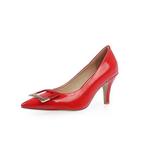 AmoonyFashion Womens Pull On Patent Leather Pointed Closed Toe Spikes Stilettos Pumps-Shoes Red